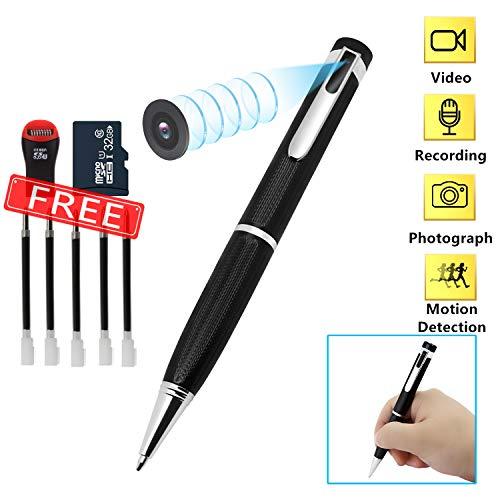 Telecamere Spia, microcamera spia nascosta Pen 1080P Videocamera Nascosta Mini Penna con videocamera nascosta con Motion Detection e Audio, MicroSD da 32 GB Integrata e 5 Inchiostri