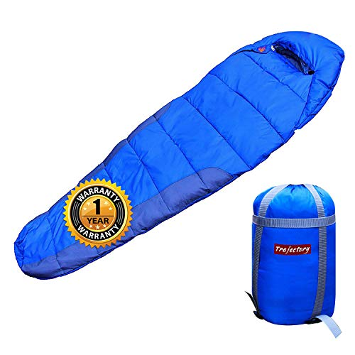 Trajectory Bonfire Sleeping Bag in Royal Blue (with wallet and phone pocket) perfect for camping trips , travelling, trekking, sleepovers (12 Months Warranty )