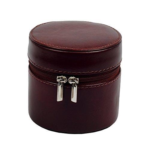 ZINT Petite boîte à bijoux de voyage en cuir véritable avec anneaux et...