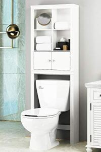 Spirich Home Bathroom Shelf Over The Toilet, Bathroom Cabinet Organizer Over Toilet, Space Saver Cabinet Storage (White)