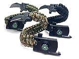 Jägerfeuer - 3er Set - Survival Paracord Armband Multitool - Feuerstein, Messer, Kompass, Pfeife, Seil - 5 in 1 Sport Camping Outdoor Überleben