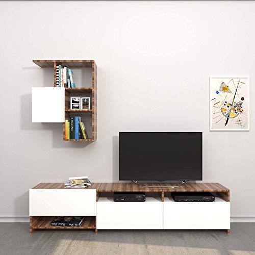 Homemania Mobile Porta TV Draco, Bianco-Legno, 180x28,4x40 cm - 57X22x75 cm