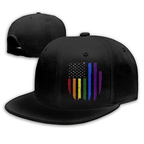 Gay LGBT Pride Rainbow Flag Snapback hat Adjustable Flat...