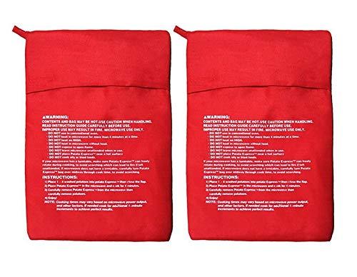 Serie di 2 Microonde Patata Fornello Borsa - Patata Esprimere Busta perfetta Patate Solo in 4 Minuti - Red