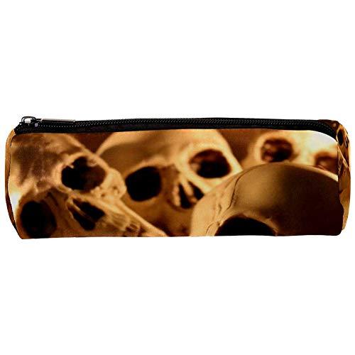TIZORAX Horror Skull Astuccio portapenne con cerniera per penne e monete, organizer per trucchi e trucchi, per donne, ragazzi e bambini