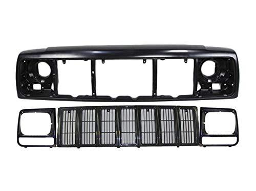 Fits 1997-2001 Cherokee Front Header Mount Panel Grille Headlight Door Bezel 4Pc CH1220115 CH1200209 CH2513157 CH2512157