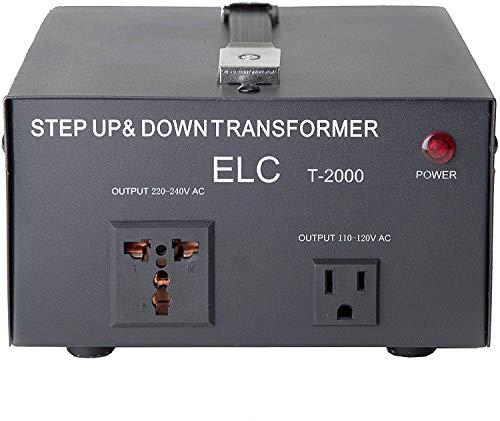 ELC T-2000UD T-2000+ 2000-Watt Voltage Converter Transformer - Step Up/Down - 110V/220V - Circuit Breaker Protection -Heavy Duty [3-Years Warranty]