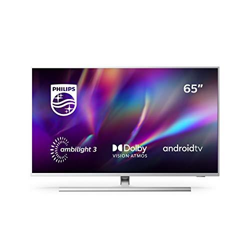 Televisor Philips Ambilight 65PUS8505/12, Smart TV de 65 pulgadas (4K UHD, P5 Perfect Picture Engine, Dolby Vision, Dolby Atmos, Control de voz, Android TV), Color plata claro (modelo de 2020/2021)