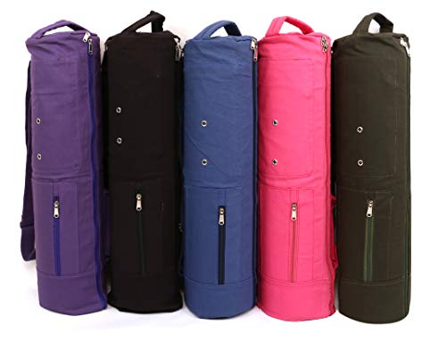 KD Cotton Canvas Yoga Mat Carrier Bag with Strap 3 Storage Pockets (Large, Dark Green)