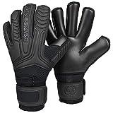 Renegade GK GK Vulcan Onyx Goalie Gloves with Finger Savers   3.5+3mm Hyper Grip & 4mm Duratek   Black Soccer Goalkeeper Gloves (Size 8, Youth-Adult, Roll Cut, Level 3)