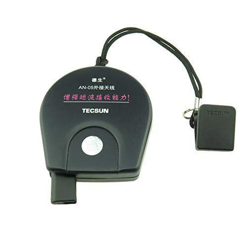 TECSUN AN-03L 3.5mm ジャック室内アンテナ 強化された信号受信 ポータブルベルト FMラジオ用(黒).