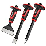 MAXPOWER 3PCS Masonry Chisel Set, 11 inch Point Chisel and Flat Chisel, 8 inch Brick Chisel, Tile Chisel Concrete Chisel with Thickness Hand Guard