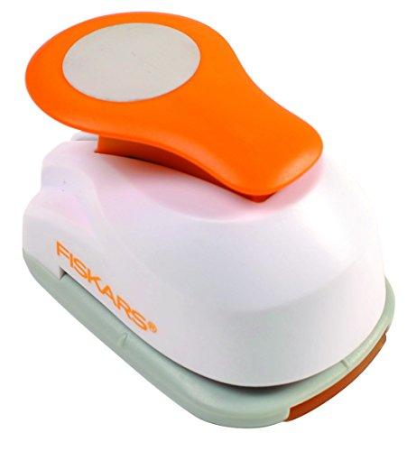 Fiskars Perforatore a leva con motivo, Cerchio,  2,5 cm, Per mancini e destrorsi, Acciaio di qualit/Plastica, Bianco/Arancione, Lever Punch, M, 1004748