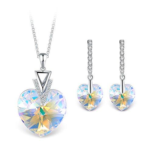 T400 Jewelers Collana con Ciondolo a Cuore e Leverback Orecchini Cristallo di Elements Parure di Gioielli Donna45+5cm Regalo per Donna Ragazza
