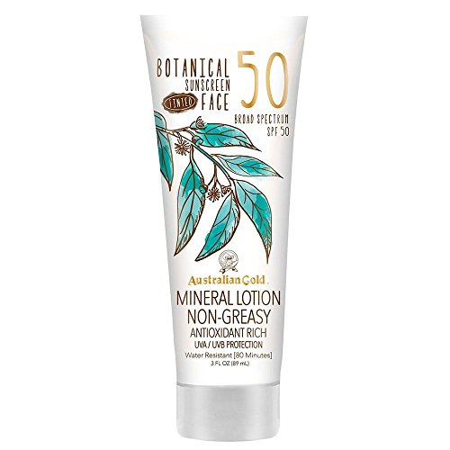 Australian Gold Botanical Sunscreen Tinted Face Mineral Lotion SPF 50, 3 Ounce | Broad Spectrum | Water Resistant