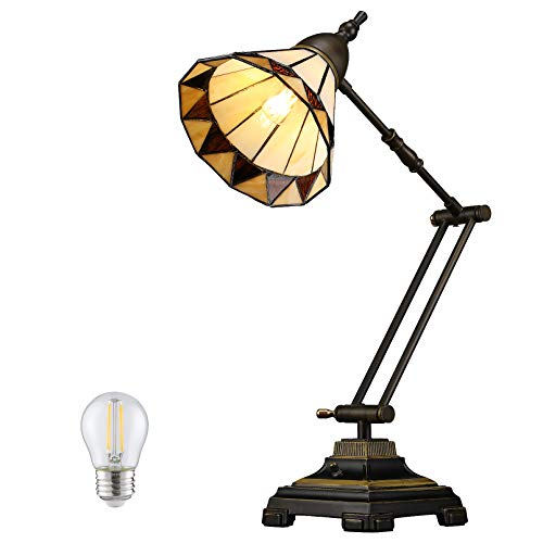 ESCENA Tiffany Style Table Lamp, Antique Vintage Light Decor Swing Arm Desk Light, Handmade Lampshade, LED G45 Bulb Included, Decoration for Living Rooms, Bedrooms, Coffee Bar