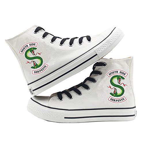 Riverdale Zapatos Zapatillas de Lona Zapatillas con Cordones Zapatillas Altas con Suela de Goma Riverdale Zapatos de Lona (Color : White01, Size : EU37 US6)