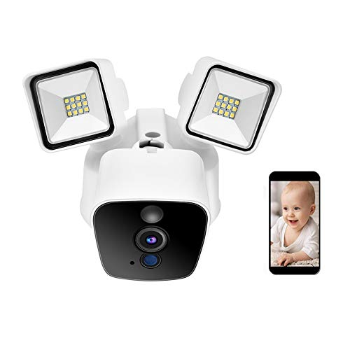 Werless Surveillance Camera, 1080P HD WiFi Outdoor Security IR Camera with Garden Lights, Mobile Phone Remote Control, Night Vision, Two-Way Voice 100-240V (US)