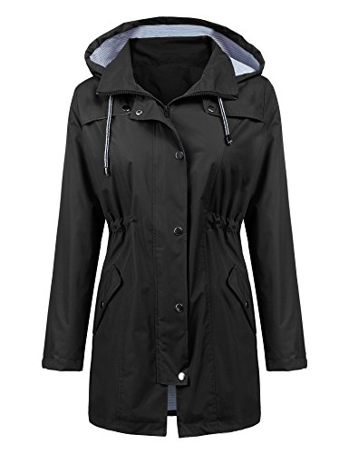 Women Rain Jacket Belted Adjustment Hooded Long Lightweight Packable Outerwear Waterproof Breathable Cotton Lined Raincoat Black M