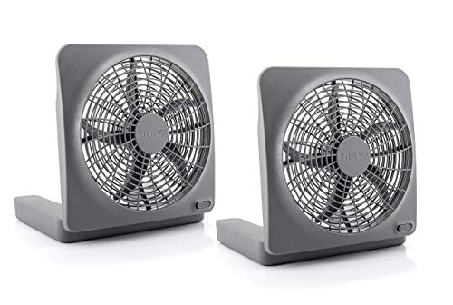 O2COOL Treva 10 Inch Portable Desktop Air Circulation Battery Powered Fan | 2 Speed Control, Compact Folding and Tilt Design w/ AC Adapter ( 2 PACK )