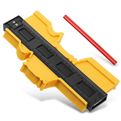 Contour Gauge Plastic Contour Duplicator Tool, Profile Gauge General Tools Copy Irregular Shapes Precise Measurement, Tiling Laminate Wood Marking Tool, Pipe Frame Gauge for Easy Cutting(10 Inch)