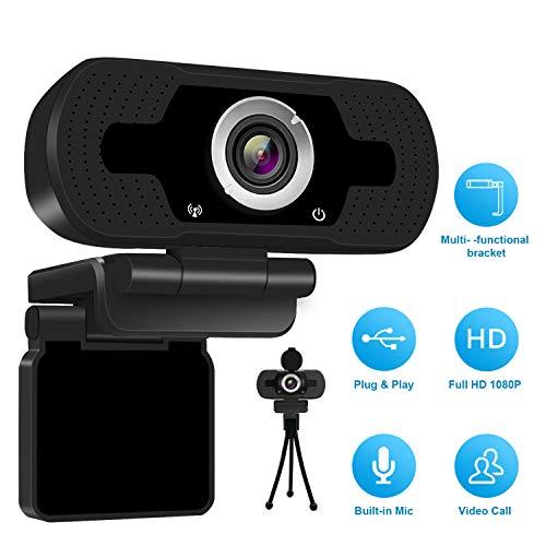 1080P Full HD Webcam with Webcam Cover, Cámara para computadora...