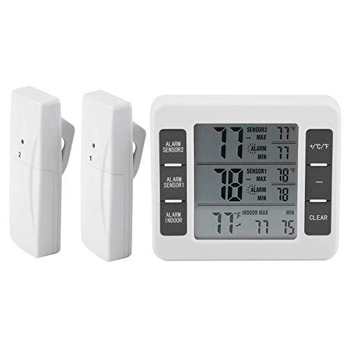 TOPINCN Termometro da Frigorifero Freezer Termometro Wireless Allarme Acustico Digitale con sensore Display min/Max