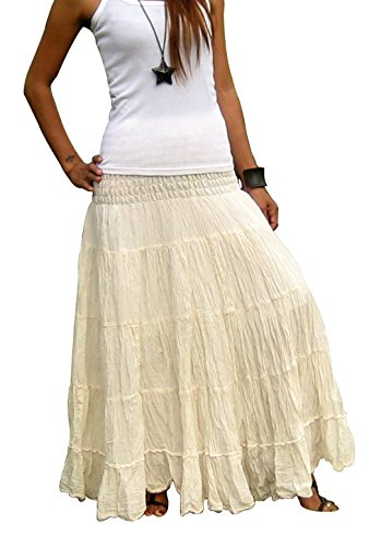 Women's Plus Size Long Maxi Pleated Skirt with Elastic Waist One Size Fits Most. Cream