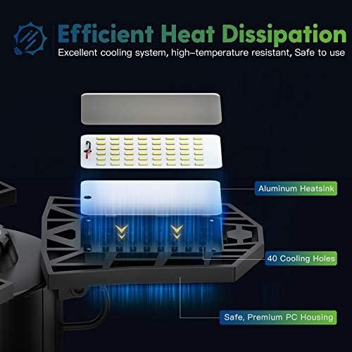 2-Pack LED Garage Light, 60W LED Shop Light with E26/E27 Medium Base, 6000LM Triple LED Garage Lighting, 6500K Screw in LED Tri Light for Attic, Basement 16