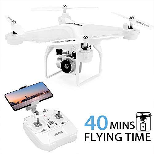Drone JJRC JJPRO H68 RC da 40(20 + 20) minuti a lungo volo con elicottero WiFi FPV rimovibile con fotocamera 720P con 2 batterie Altitude Hold, modalit senza testa, controllo APP Best Drone (bianco)