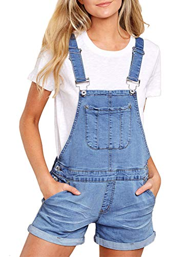 Happy Sailed Damen Kurz Jeanslatzhose Denim Overall Jumpsuit Playsuit Jeans Hosenanzug Romper S-XXL, 3 Hellblau, X-Large(EU48-50)