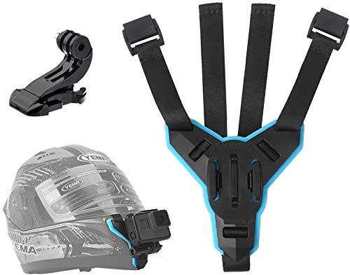 TELESIN - Supporto per videocamera con montaggio anteriore per casco da moto con mento curvo, per GoPro Hero , Osmo Action, Insta 360 ,Silicone antiscivolo, facile da installare (Prima generazione)