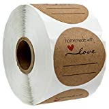 2' Homemade with Love Sticker with Lines for Writing /2' Round Homemade with Love Canning Labels / 500 Labels per roll