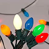 SkrLights 25Ft Christmas Lights C7 Multicolor Ceramic Lights Outdoor and Indoor String Light for Holidays, Christmas, Prom, Party, Wedding, 25 Ceramic Bulbs C7 Light (Plus 2 Extra Bulbs), Green Wire