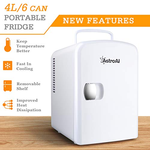AstroAI Mini Fridge 4 Liter/6 Can AC/DC Portable Thermoelectric Cooler and Warmer for Skincare, Foods, Medications, Home and Travel, White 7