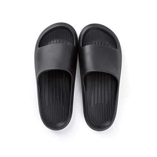 posee Comodas Chanclas Mujer EVA Ducha Playa y Piscina Slide Zapatilla De Baño Zapatos De Piscina Sandalias De Interior Sandalias Suaves Zapatillas Para El Baño FBA-Negro EU 42