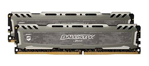Crucial Ballistix Sport LT BLS2K16G4D30AESB 3000 MHz, DDR4, DRAM, Mémoire Kit pour PC de Gamer, 32Go (16Gox2), CL15 (Gris)