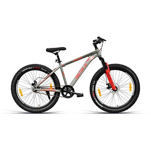 VECTOR 91 Skullrider 26T Single Speed Hybrid Bike ( Grey & Red , Ideal For: 12+ Years , Brake: Disc )