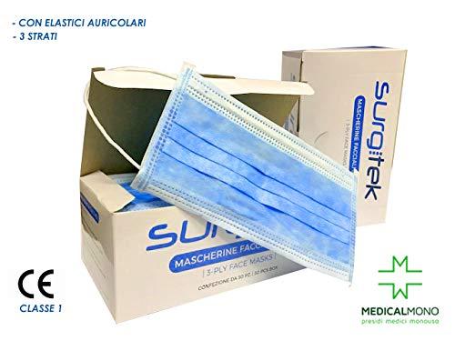 MEDICALMONO ® Maschera anti-polvere monouso 50pcs con Earloop per medici, dentisti, saloni, costruzione, vernice, allergie, giardinaggio 3 strati SURGITEK con ELASTICI- 50 pz