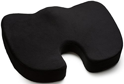 Seat Cushion, Luxfit Premium Coccyx Orthopedic 100% Memory Foam Seat Cushion - 2 Year Warranty (Black)