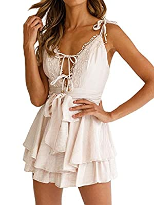 Features: spaghetti straps, V neck, layered shoulder, cold shoulder, fringes Design: The fringes fully enrich the stylish romper. The belt at the waist can be made a bow knot, adding vitality to the playsuit. And the cold shoulder makes you unique in...