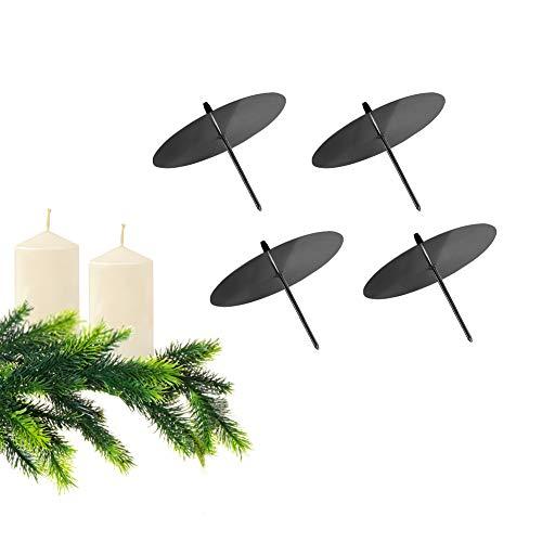 GoMaihe Kerzenhalter Adventskranz 4 Stück, Kerzenteller für Metall, Kerzenpick mit Dorn 6cm Adventskerzenhalter Vintage Kerzenständer, Kerzenstecker für Advent Weihnachten Tisch Deko, Schwarz, MEHRWEG