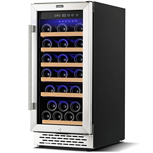 Colzer Upgrade 15 Inch Wine Cooler Refrigerators, 32 Bottle Built-in or Freestanding Fridge with Stainless Steel, Digital Temperature Control Screen