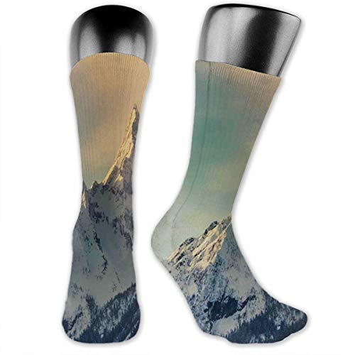 Compression Medium Calf Socks,Winter Mountains Panorama Style Scene With Ski Slopes Caucasus...