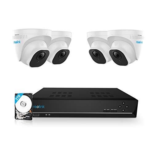 Reolink 5MP Kit Videosorveglianza PoE, 8CH 2TB 4K NVR con 4X 5MP Telecamera Esterno IP PoE Impermeabile, Visione Notturna di 30 Metri, Rilevazione del Movimento, Registrazione 24/7, RLK8-520D4-5MP