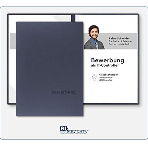 8 Stück zweiteilige Bewerbungsmappen BL-exclusivdruck® BL-plus in Marineblau - Premium-Qualität mit edler Relief-Prägung \'Bewerbung\' - Produkt-Design von \'Mario Lemani\'