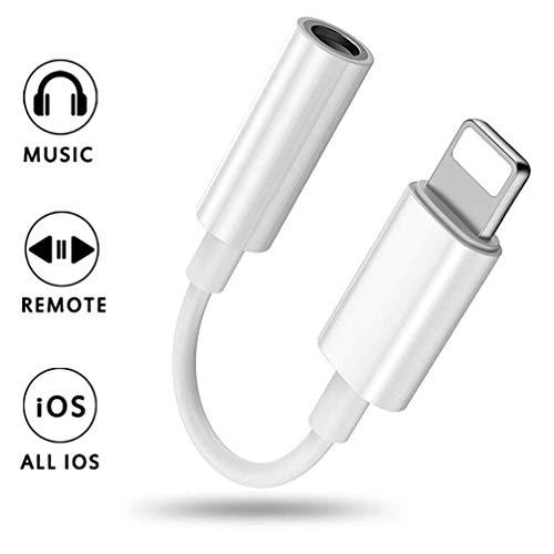 Adattatore jack per cuffie per iPhone X Adattatore 3,5 mm Aux Audio Stereo Cuffie Splitter per iPhone 11/X/XS//XS MAX/XR/7/7Plus/8/8Plus Ricarica Connettore per cuffie Supporto Tutto iOS-Bianco