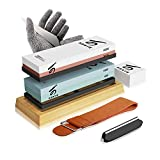 Knife Sharpening Stone Kit, KERYE Professional Japanese Whetstone Sharpener Stone Set, Premium 4 Side Grit 400/1000 3000/8000 Water Stone, Flattening Stone, Angle Guide, Leather Strop, Anti Cut Gloves