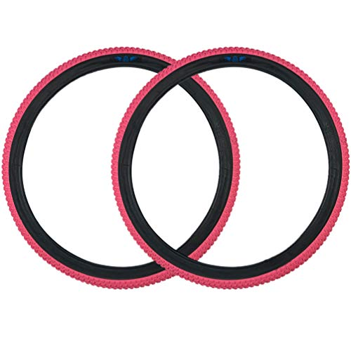 SE Bikes Cub 24 x 2.0 BMX Replacement OEM Dirt All Terrain Street Wire Bead Two Bike Tire Pair (Pink)