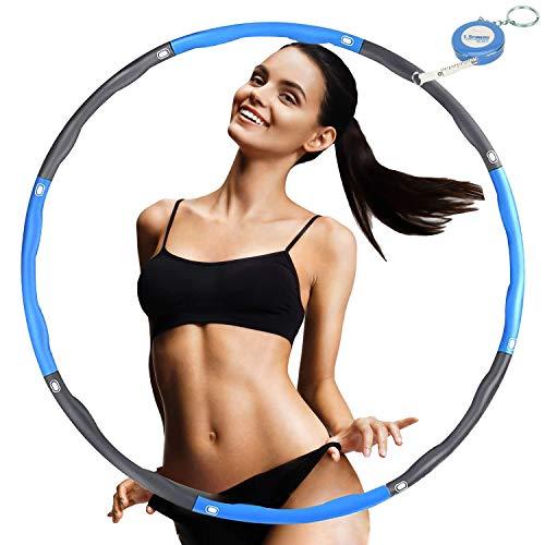 FUNNY HOUSE Hula Hoop Reifen zur Gewichtsreduktion, Einstellbar Breit 75–95 cm Reifen Schaumstoff ca 1.2 kg, 8 Segmente Abnehmbarer Hula Hoop (Blau)